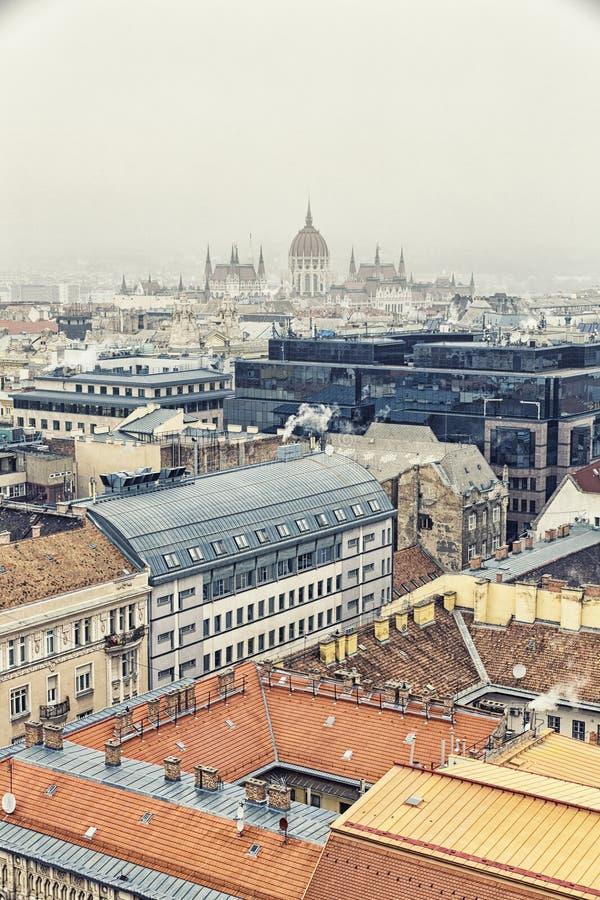 Vista aérea em Budapest no inverno imagem de stock