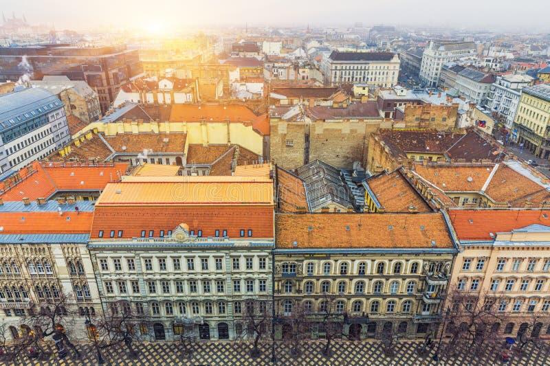 Vista aérea em Budapest no inverno foto de stock royalty free