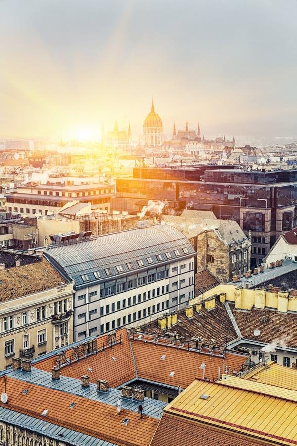 Vista aérea em Budapest no inverno, Hungria fotografia de stock
