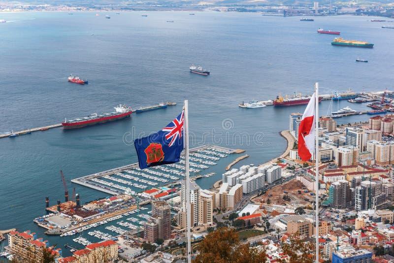 Vista aérea em Gibraltar - território ultramarino britânico imagem de stock royalty free