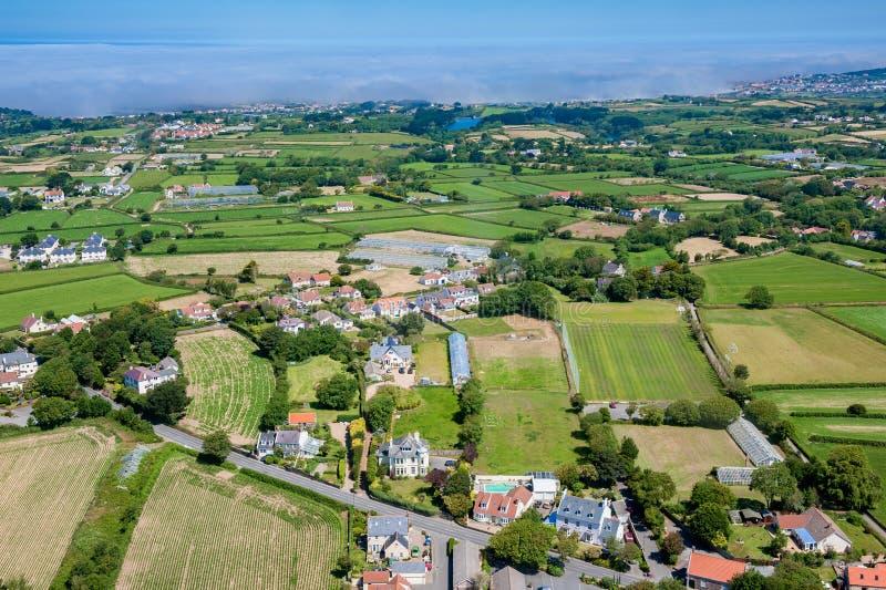 Vista aérea em Guernsey imagens de stock