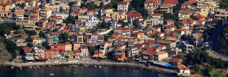 Vista aérea em Parga Greece imagem de stock royalty free