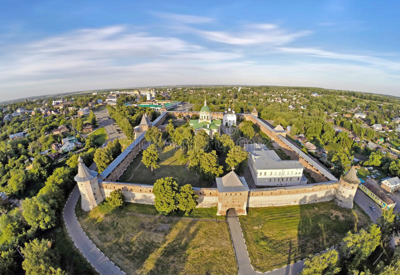 Vista aérea em Zaraysk kremlin fotos de stock royalty free