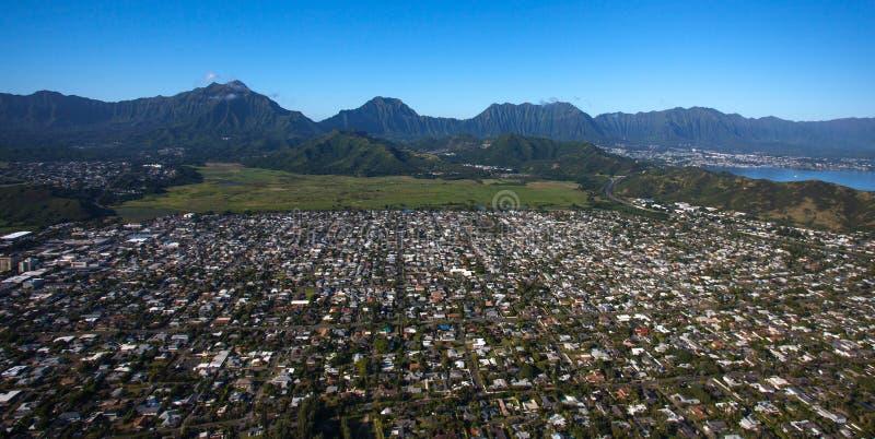 Vista aérea hermosa de Kailua, Oahu, Hawaii imagen de archivo libre de regalías