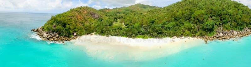 Vista aérea hermosa de la isla de Seychelles fotos de archivo