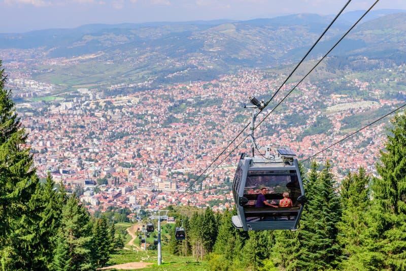Vista aérea hermosa de Sarajevo fotografía de archivo libre de regalías