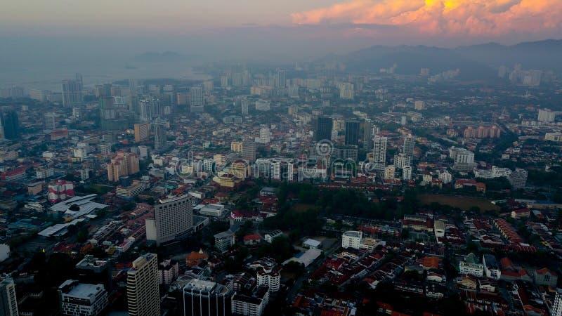 Vista aérea hermosa del paisaje urbano del paisaje de Penang Malasia en el Mach 22 2019 imagen de archivo libre de regalías