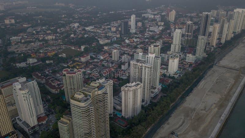 Vista aérea hermosa del paisaje urbano del paisaje de Penang Malasia en el Mach 22 2019 imagenes de archivo
