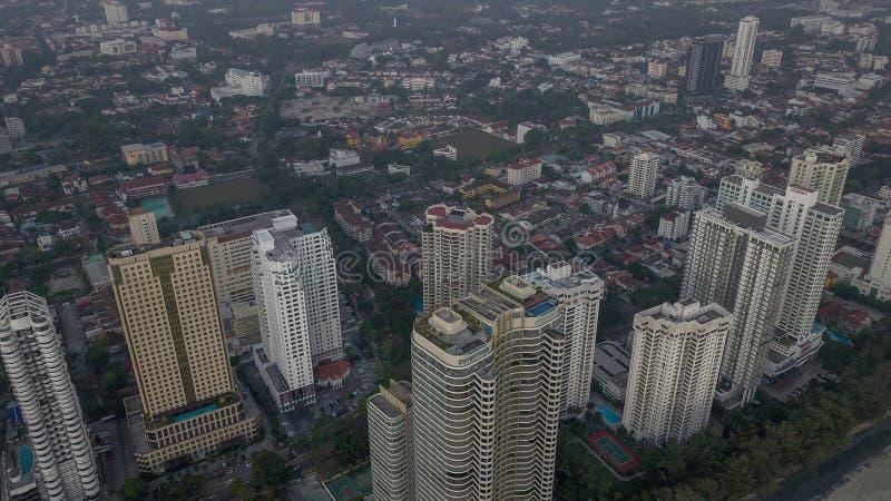 Vista aérea hermosa del paisaje urbano del paisaje de Penang Malasia en el Mach 22 2019 fotografía de archivo libre de regalías