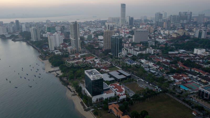 Vista aérea hermosa del paisaje urbano del paisaje de Penang Malasia en el Mach 22 2019 imagen de archivo