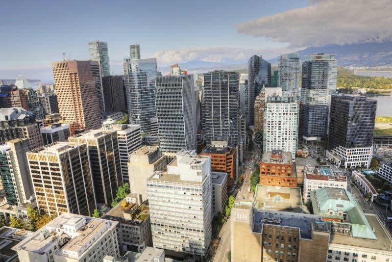 Vista aérea horizonte de la Vancouver, Canadá imágenes de archivo libres de regalías