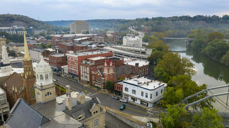 Vista aérea isolada no centro da capital do estado, Frankfort, Kentucky imagem de stock royalty free