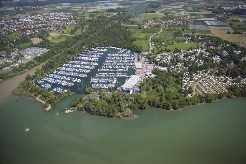 Vista aérea Kressbronn Marina Lake Constance fotos de stock