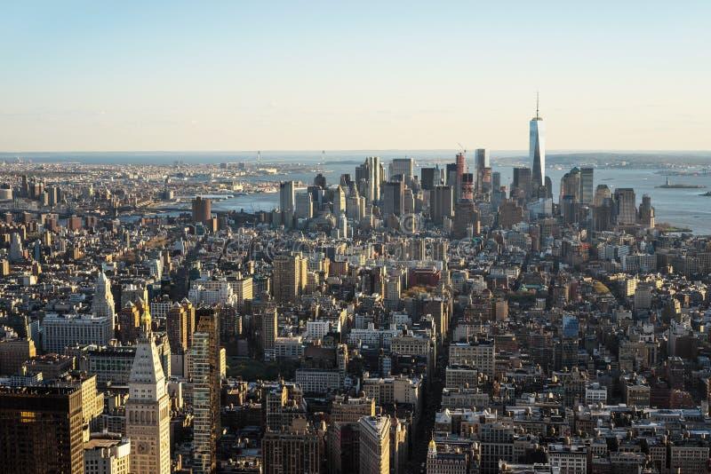 Vista aérea a Manhattan céntrica y al Lower Manhattan NYC imágenes de archivo libres de regalías