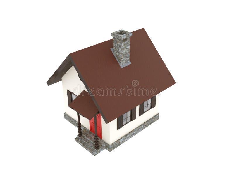 Vista aérea minúscula da cabine da casa da montanha ilustração royalty free