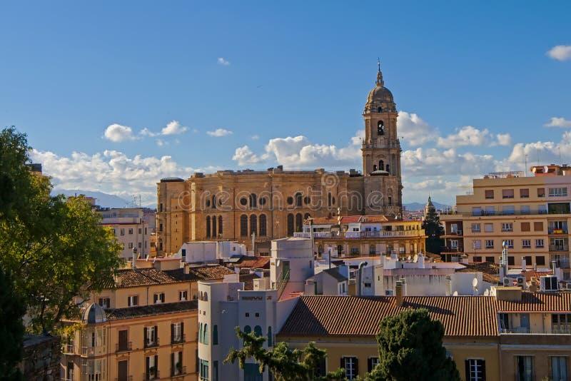 Vista aérea na catedral de Malaga, Espanha foto de stock royalty free