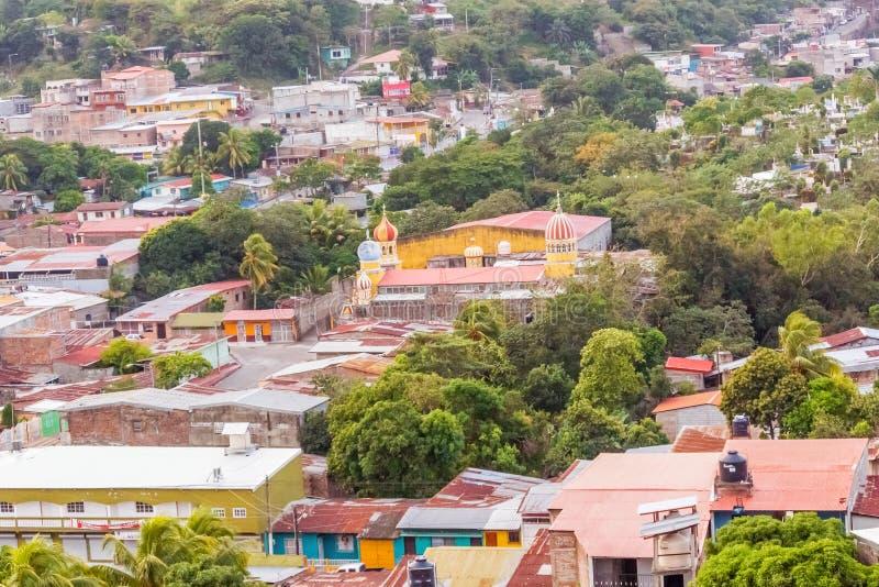 Vista aérea na cidade de Boaco em Nicarágua fotografia de stock royalty free