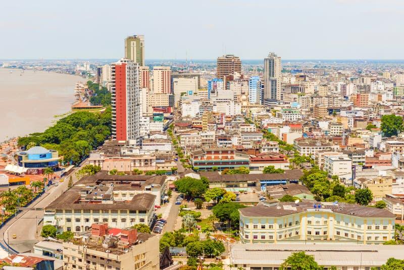 Vista aérea na cidade de Guayaquil, Equador imagem de stock