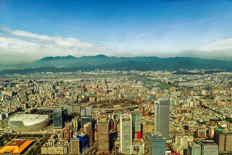 Vista aérea na cidade de Taipei, Taiwan imagem de stock