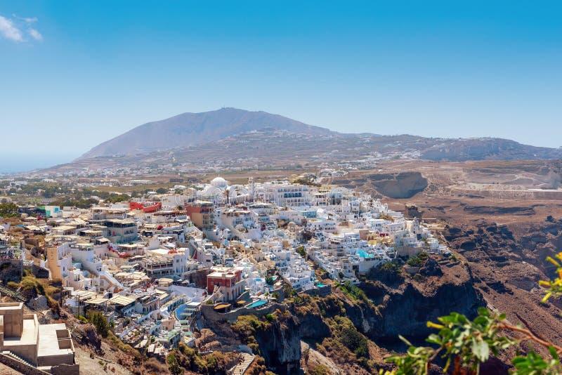 Vista aérea na cidade do capital de Thira da ilha, Grécia imagem de stock