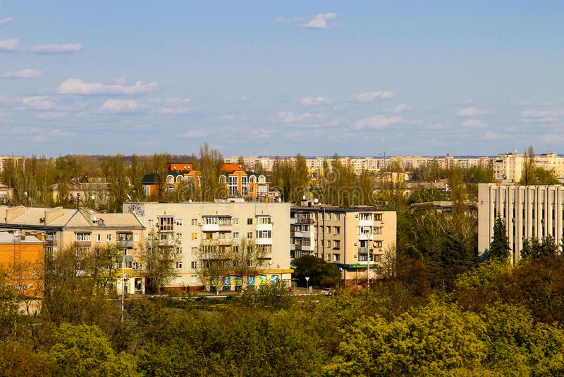Vista aérea na cidade Kremenchug imagem de stock royalty free
