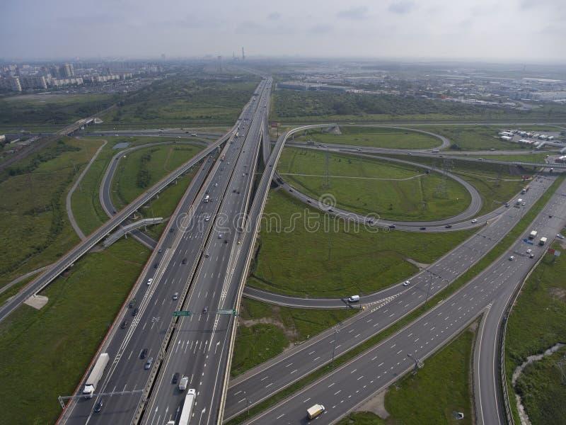 Vista aérea na junção de estradas imagens de stock royalty free