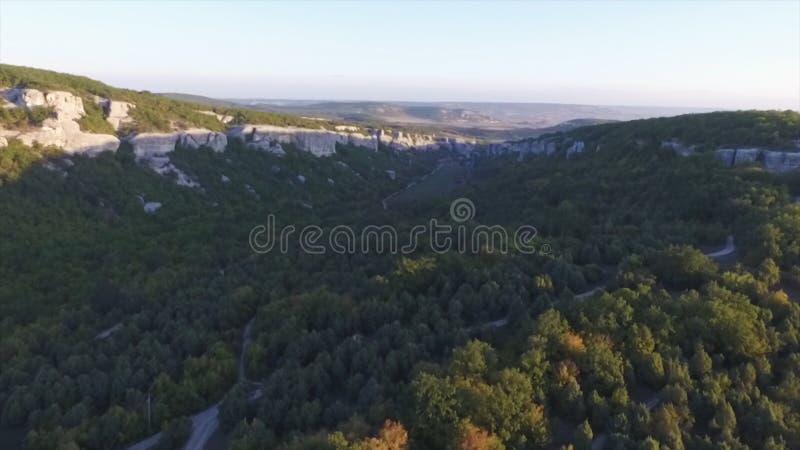Vista aérea na paisagem da montanha com fundo do por do sol, em algum lugar no Estados Unidos tiro imagens de stock royalty free