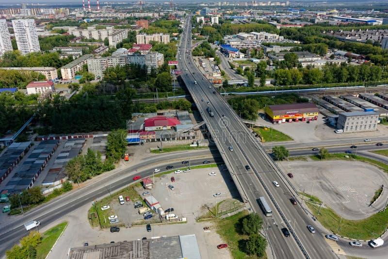 Vista aérea na rua de Permyakova Tyumen Rússia fotos de stock