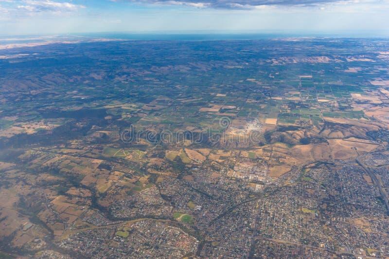 Vista aérea na terra com campos imagem de stock