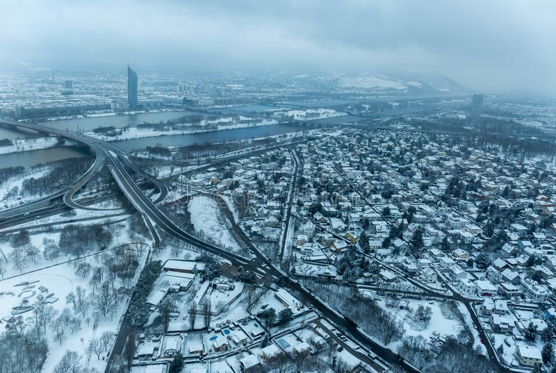 Vista aérea nevado de Viena fotos de stock