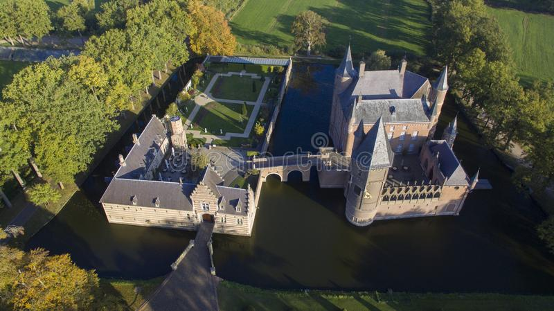 Vista aérea no castelo de Heeswijk foto de stock