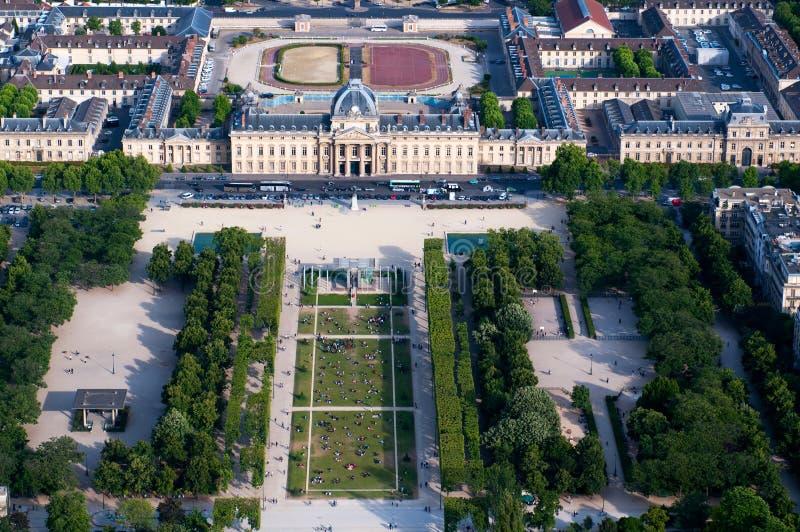 Vista aérea no Champ de Mars e no Ecole Militaire foto de stock