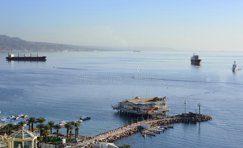 Vista aérea no golfo de Aqaba do hotel de Eilat imagens de stock