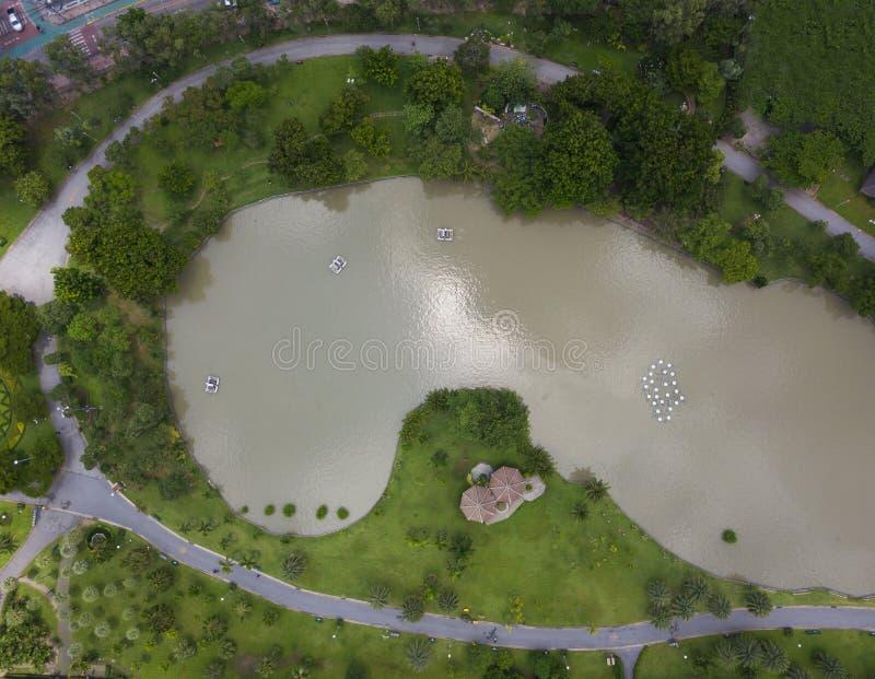 Vista aérea no parque verde com lago ilustração stock