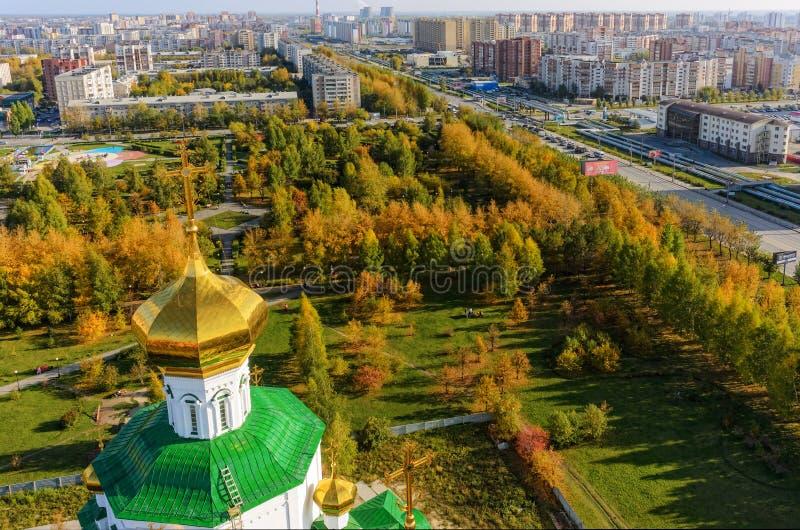 Vista aérea no quadrado dos deputados Tyumen Rússia foto de stock royalty free