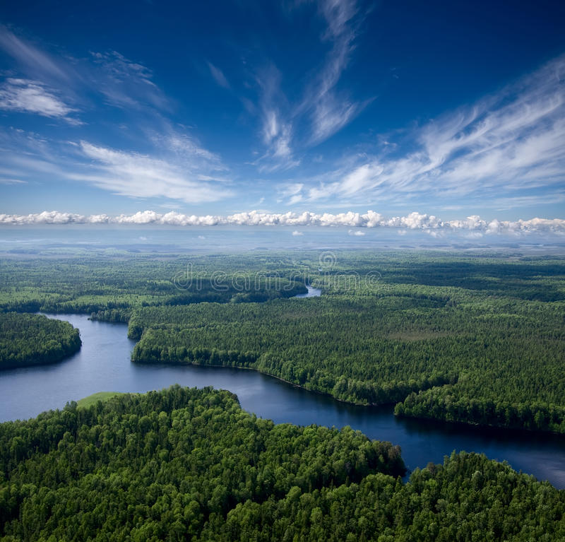 Vista aérea o rio foto de stock royalty free