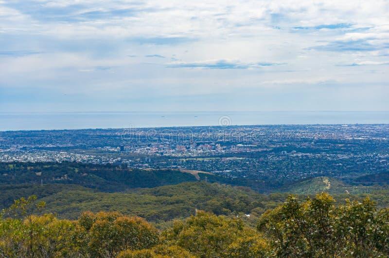 Vista aérea panorámica de la ciudad de Adelaide imagen de archivo