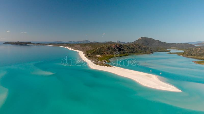 Vista aérea panorámica de la playa de Whitehaven en las islas del Pentecostés, imagen de archivo