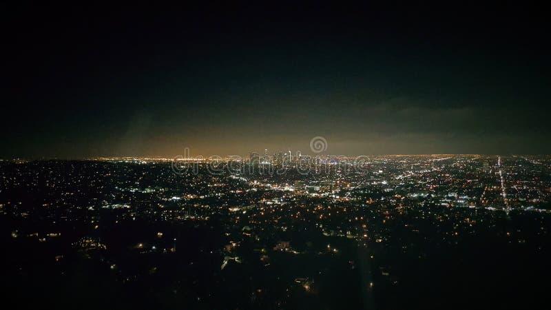 Vista aérea panorâmico da cidade de Los Angeles na noite fotos de stock