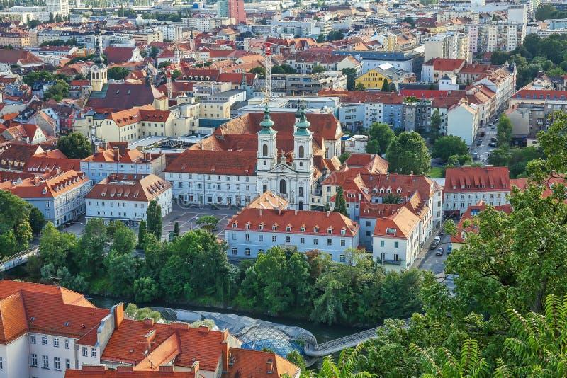 Vista aérea para a cidade de Graz, Áustria fotografia de stock royalty free