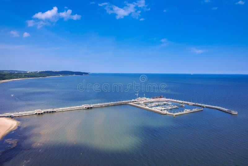 Vista aérea para o litoral do mar Báltico com o cais de madeira em Sopot, Polônia fotos de stock royalty free