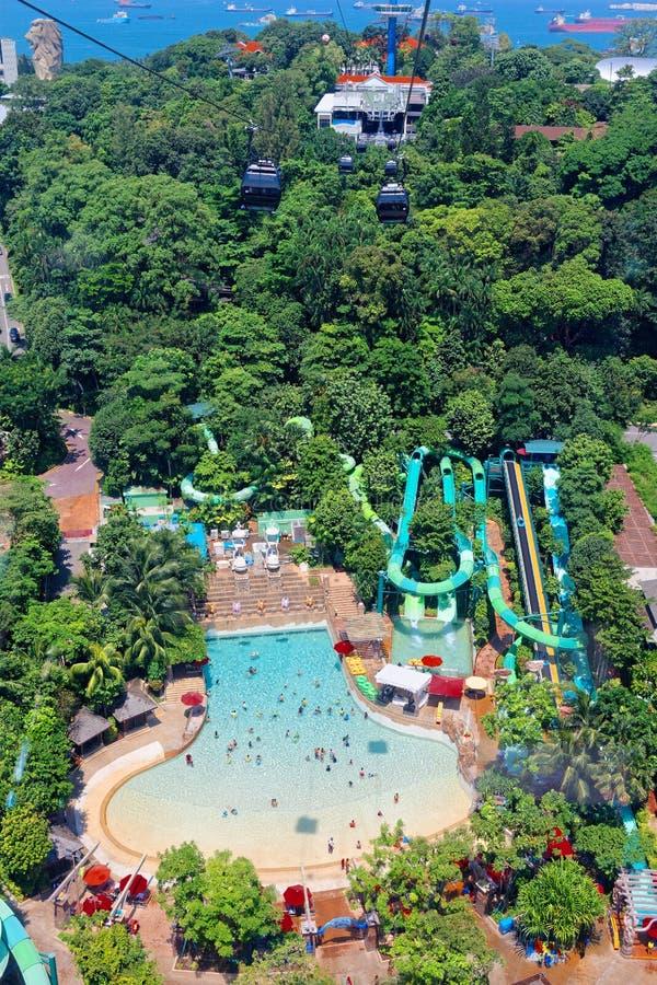 Vista aérea, passeios da água, recurso de Sentosa fotos de stock