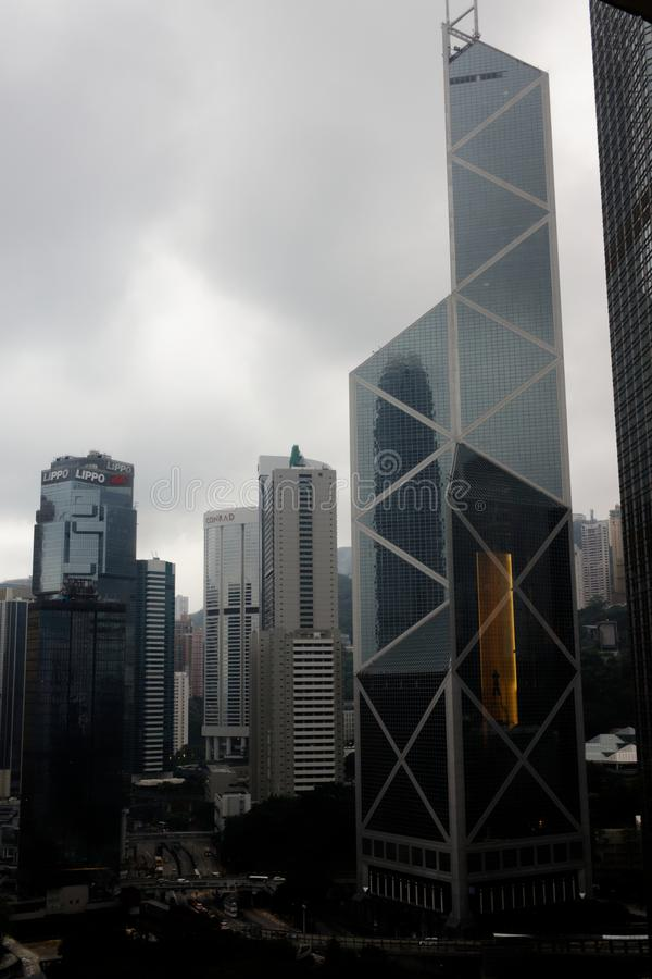 Vista aérea, skyline de Hong Kong, arquitetura da cidade fotos de stock