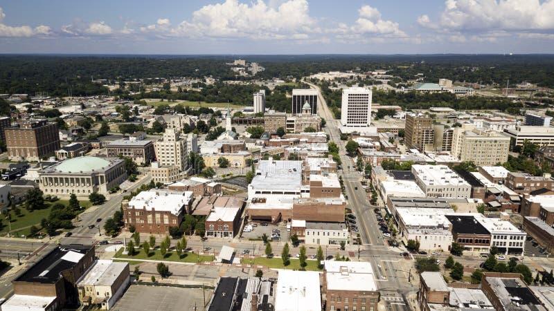 Vista aérea sobre a arquitetura das ruas e as construções de Downt fotografia de stock