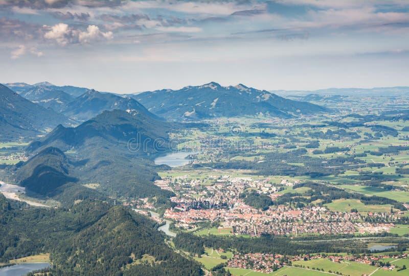 Vista aérea sobre Fuessen fotografia de stock royalty free