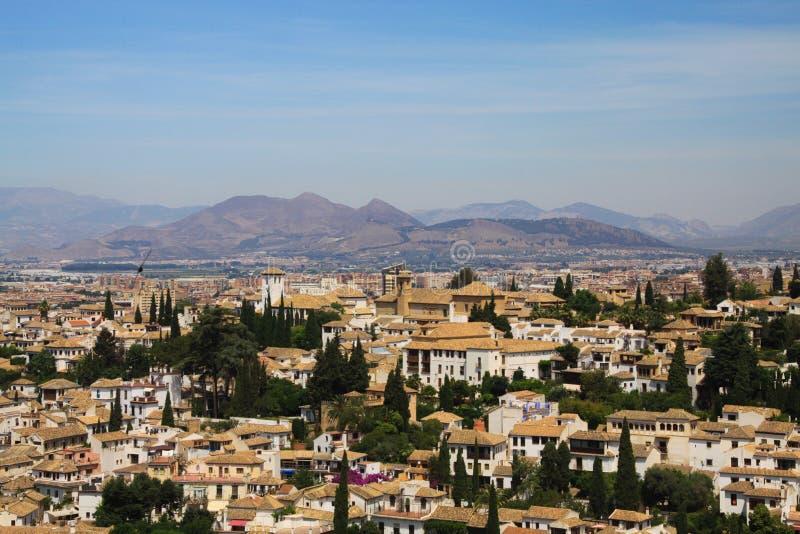 Vista aérea sobre Granada de Alhambra, a Andaluzia foto de stock royalty free