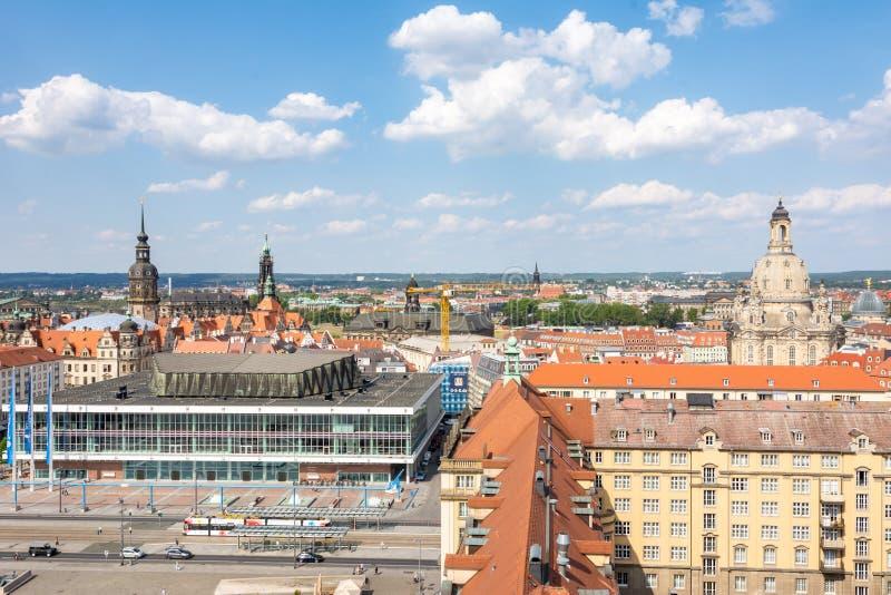 Vista aérea sobre o quadrado de Altmarkt em Dresden fotos de stock