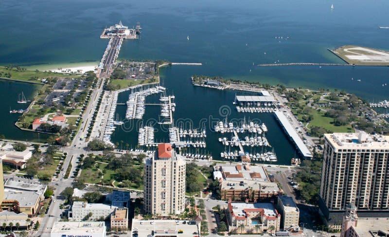 Vista aérea St Petersburg da baixa, Florida foto de stock