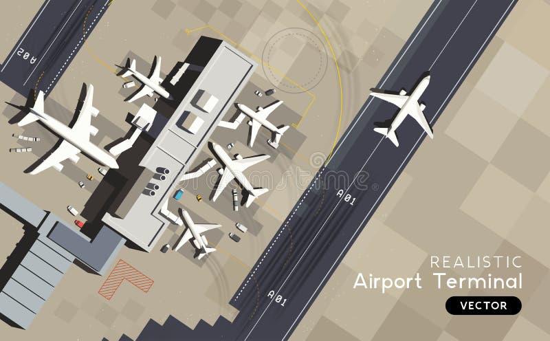 Vista aérea - terminal de aeroporto com pista de decolagem e aviões ilustração stock