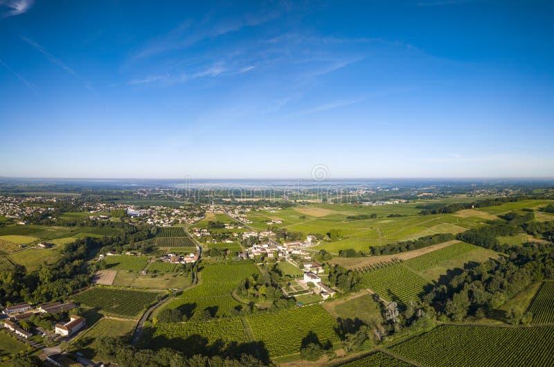 Vista aérea, vinhedo do Bordéus, sul do vinhedo da paisagem a oeste de france imagem de stock